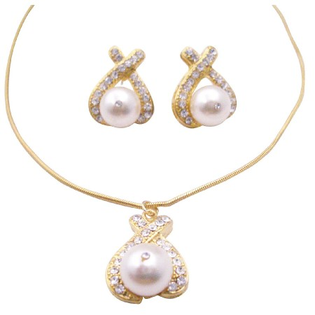 Gold Jewelry with White Pearl Pendant Necklace Earrings Set