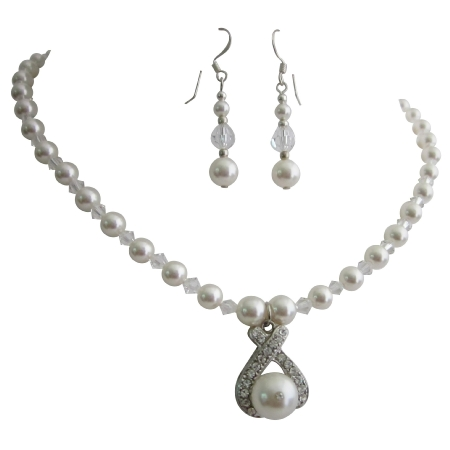 Pageant Jewelry Sapphire Clear Crystals Drop Down Pendant Earrings Set