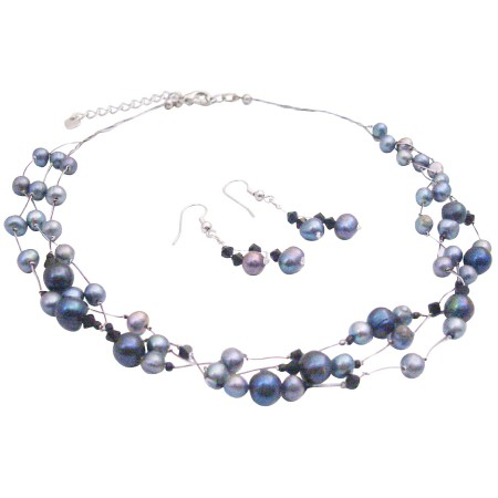 Evening Jewelry In Black Grey Freshwater Pearls Swarovski Jet Crystals