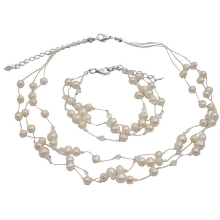 Necklace Bracelet Ivory Freshwater Pearls w/ Clear Crystals