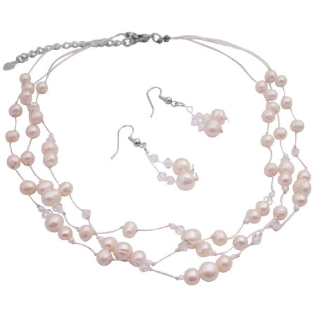 Freshwater Pearls & Clear Crystals Jewelry Set Fine Career Jewelry