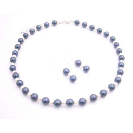 Attractive Color Night Blue Pearls with White Pearls Jewelry Set