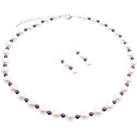 Classic to Modern Chic Wedding Affordable White Pearls w/ Night Blue