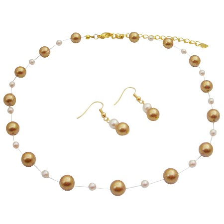 Handmade Jewelry Harvest Gold Pearls Ivory Pearls Gold Chain Jewelry