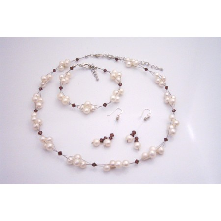Freshwater Pearls Creation Burgundy Crystals Complete Wedding Jewelry
