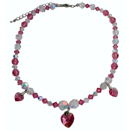 Wedding Jewellery Pink & AB Crystals Heart Pendant Necklace