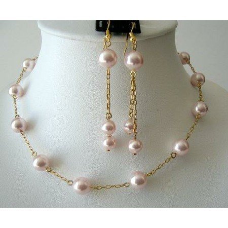 Romantic Jewelry Set Rosaline Pearls Chain 22k Gold Plated