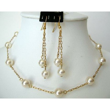 Wedding Jewelry 22k Gold Plated Cream Pearls Handcrafted Set