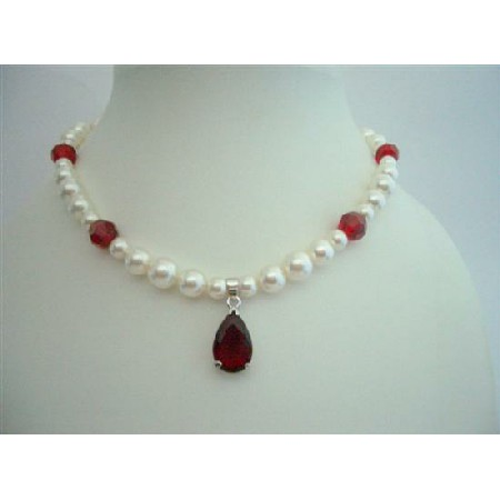 Bridal Necklace Swarovski Cream Pearls & Siam Red Crystals w/ Pendant