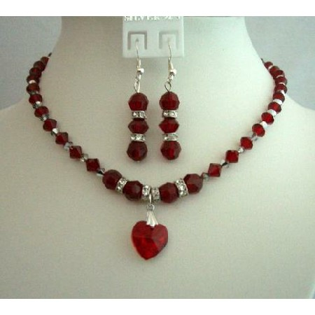 Bridal & Bridesmaid Jewelry Red Crystals Heart Pendant Necklace Set