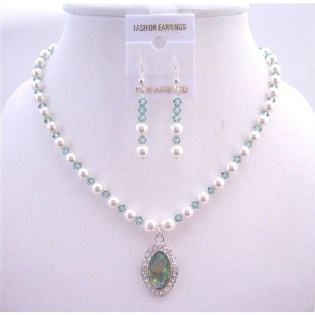 Bridal Jewelry Erinite Crystals & White Pearls Necklace Set