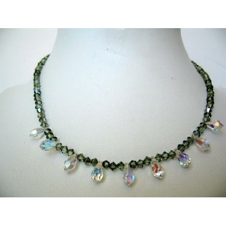 Bridal Bridesmaid Chrysolite Crystals AB Briolettes Necklace