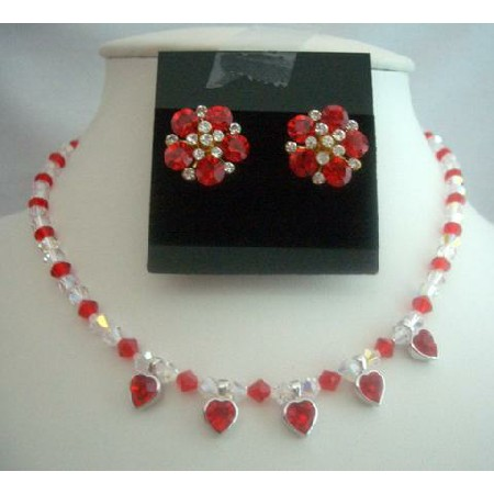 Wedding Jewelry Bridal Necklace Siam Red Crystals Necklace AB Crystals