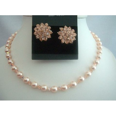 For Moms Brides & Bridesmaid Peach Swarovski Pearls Crystals Jewelry