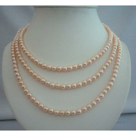 3 Stranded Peach Pearls Bridal Mother of Bride Jewelry