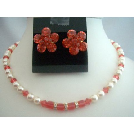 Handcrafted Cream Pearls Padparadscha Crystals Wedding Bridal Necklace