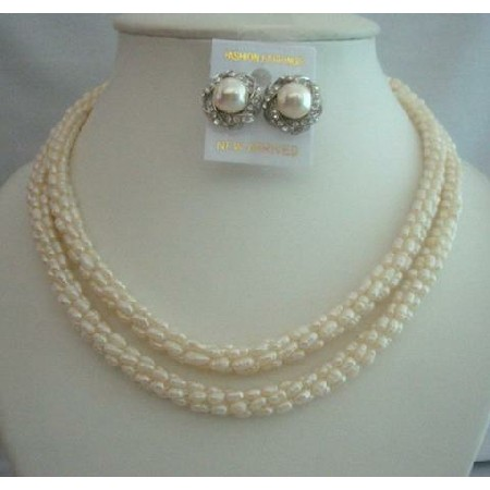Necklaces For All occasion Freshwater Pearls Rice Shaped Bride Jewelry