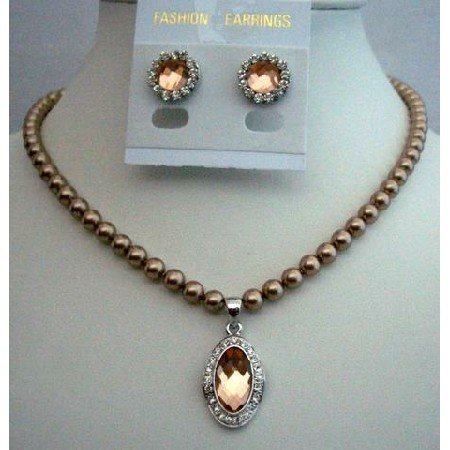 Handcrafted Bridal Necklace Jewelry Bronze Pearls Pendant Stud Earring