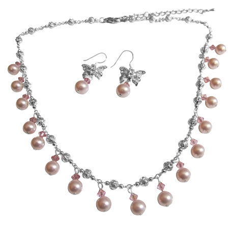 Rose Pink Pearls & Crystals Choker Wedding Party Necklace Set