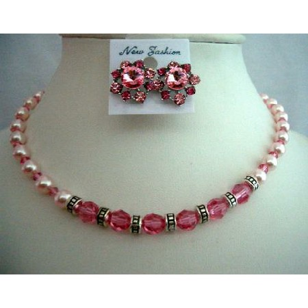 Artisan Jewelry Rose Pearls & Crystals Wedding Bridal Necklace Set