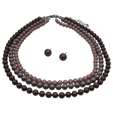 Three STRANDS NECKLACE Pearls Tri-Colors Handcrafted Set