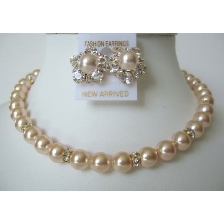 Pearls Peach Bridal Mother Jewelry Bridesmaid Gold Rondells