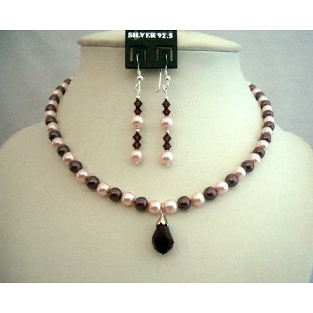 Swarovski Rosaline & Burgundy Pearls Necklace Moms Or Brides Jewelry