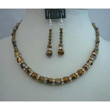 Swarovski Dorado Crystals Wedding Jewelry Handcrafted Necklace Set