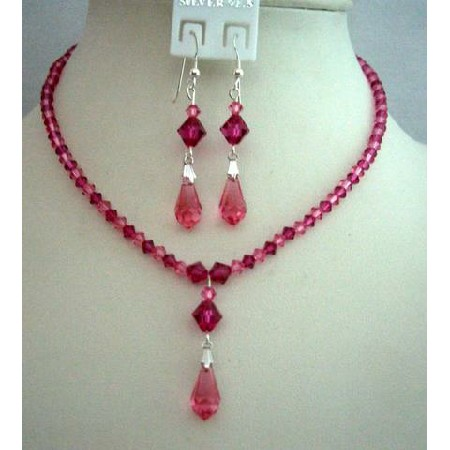Handcrafted Custom Rose Pink & Fuchsia Crystals Jewelry Set