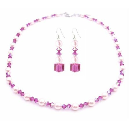 Bride Jewelry Swarovski Rose Pink & AB Fuchsia Crystals Necklace Set