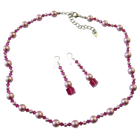 Handcrafted Rose Pink Pearls & Fuchsia Crystals Necklace Jewelry Set