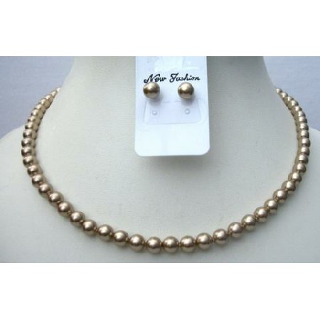 Swarovski Bronze Necklace Set Stud Pearls Earrings 6mm Pearls Jewelry