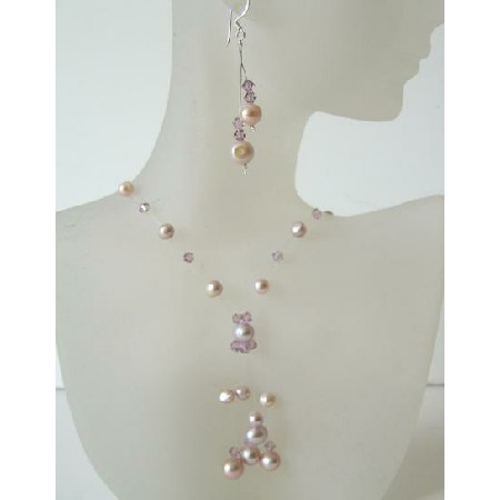 Mauve & Pinkish Freshwater Pearls & Crystals Necklace Set