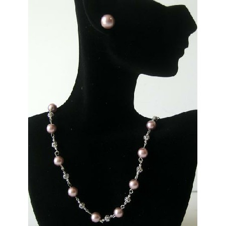 Handmade Powder Rose Pearls Bridal Bridesmaid Jewelry