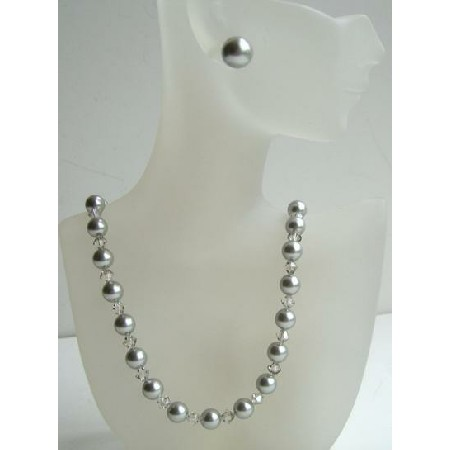 Swarovski Clear Crystals & Grey Pearls w/ Grey Necklace Stud Earrings