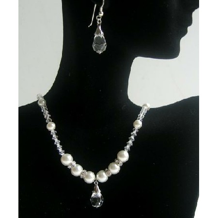 Bridal Party Clear Crystals Pearls Necklace Teardrop Earring