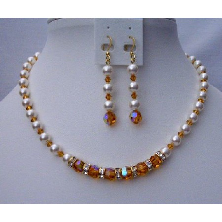 Custom Handcrafted Topaz Crystals Pearls Bridal Jewelry