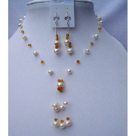 Swarovski Topaz Crystals & Freshwater Pearls Wedding Necklace Set