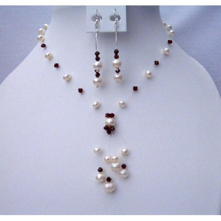 Handmade Dark Siam Red Crystals & Freshwater Pearls Jewelry