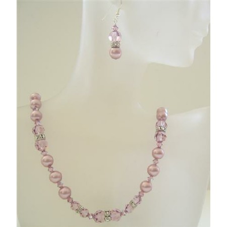 Powder Rose Pearl Amethyst Crystal Wedding Party Necklace Set