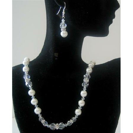 Bridal Jewelry White Pearls Clear Crystals Handmade Necklace