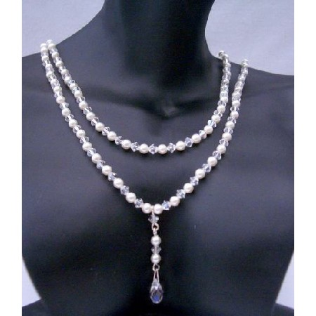 Briolette Pendant Double Strand Pearls & Crystals Necklace