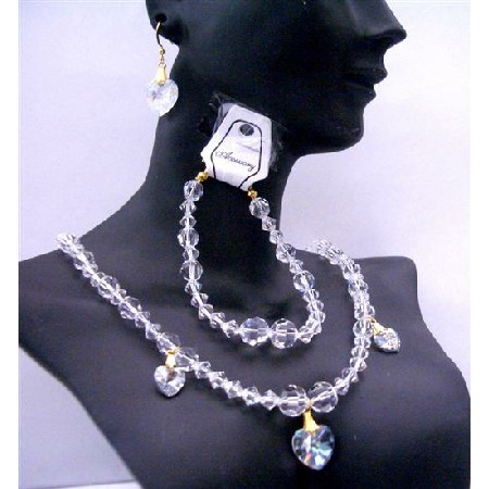 Wedding Bridal Jewelry Clear Crystals Necklaces Bracelet Set