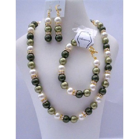 Handcrafted Light Green Pearls Gold Rondells Bridemaid Jewelry