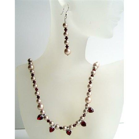 Garnet Swarovski Crystals Heart Dangling Necklace Bridal Jewelry