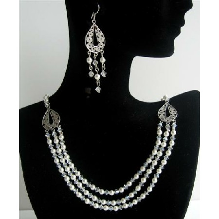 White Pearls Moonlite Crystals 3 Strands Drop Necklace Set