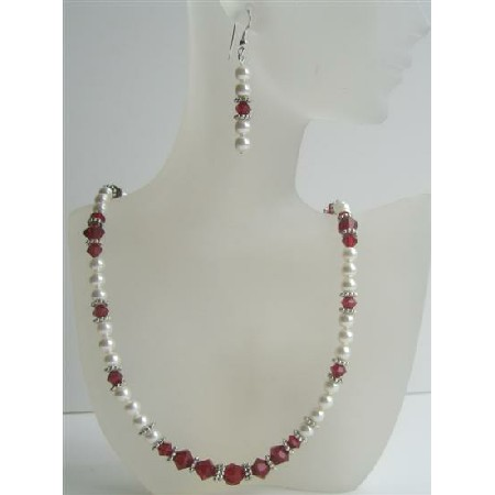 Handmade Jewelry White Pearls Siam Red Crystals Bali Silver