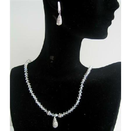 Moonlite Crystals Rondells w/ Cubic Zircon Teardrop Jewelry