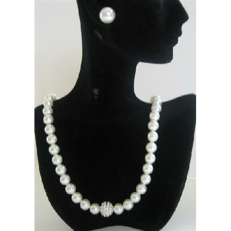 Wedding Party Jewelry White Pearls Necklace w/ Stud Earrings