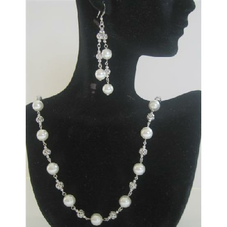 White Pearls Long Necklace 26 inches Swarovski Dangling Earring Bridal